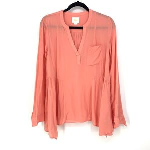 Maeve Sz 6 Peplum Blouse Coral Pink Long Sleeve